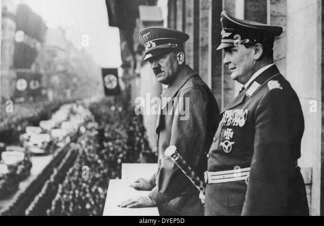 Hermann Goring and Adolf Hitler review a parade in Prussia 1938 - Stock Image