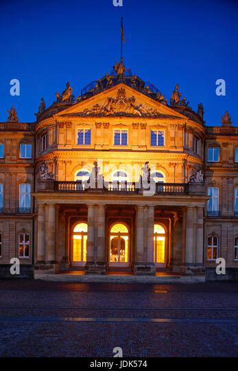 DEU, Deutschland, Stuttgart: Neues Schloss Abenddaemmerung | DEU, Germany, Stuttgart: New Palace at dusk - Stock-Bilder