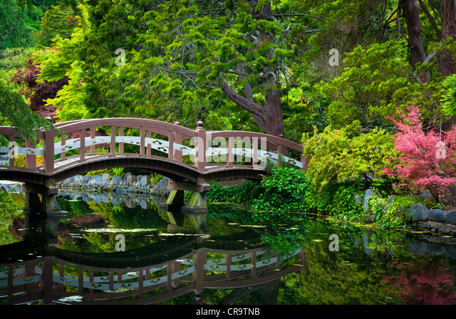 Gardens at Hatley Castle in Victoria, BC, Canada - Stock Image