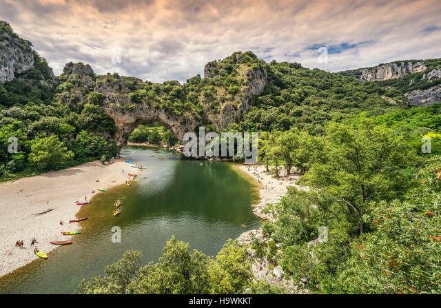 Pont d Arc , Pont d Arc, Gorges of Ardeche , Massif Central, Rhone-alpes,  France - Stock Image