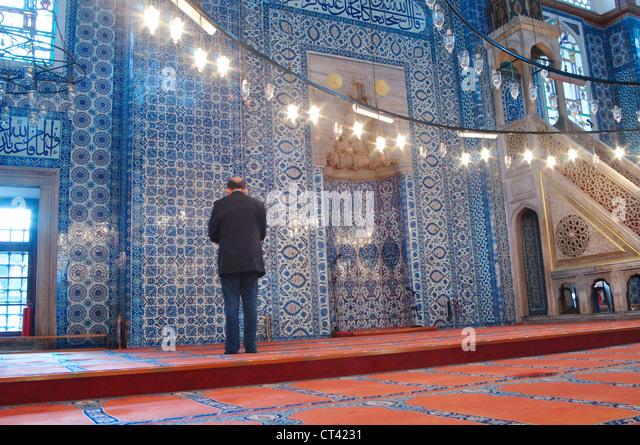 Turkey, Istanbul, Interiors of the Rustem Pasha Mosque - Stock Image