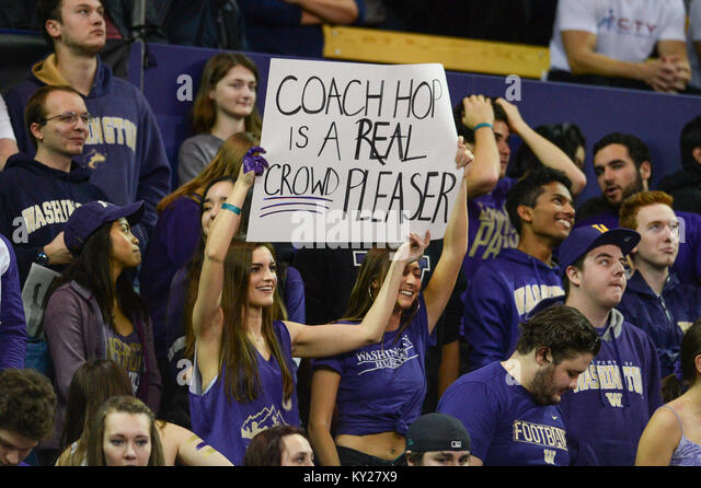 Seattle, WA, USA. 11th Jan, 2018. Dawg Pack fans show their appreciation for Coach Hopkins during a PAC12 basketball - Stock Image