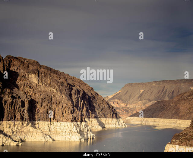 Hoover dam and Lake Mead in Las Vegas area. Hoover Dam is a major tourist attraction on Nevada / Arizona border - Stock Image