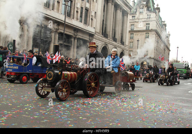 London, UK. 1st January 2017. Mini steam engine operators stear their engines along the New Year's Day Parade - Stock Image