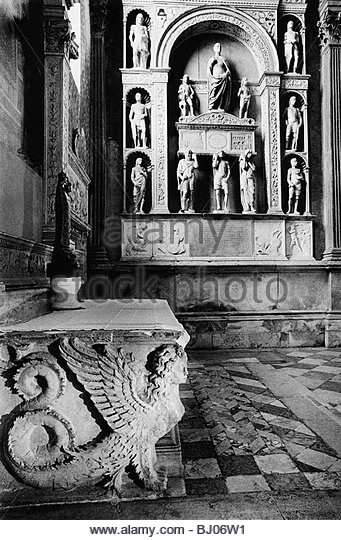 Monument to the Doge Giovanni Mocenigo, the church of S.S. Giovanni e Paolo, Venice, Italy - Stock-Bilder