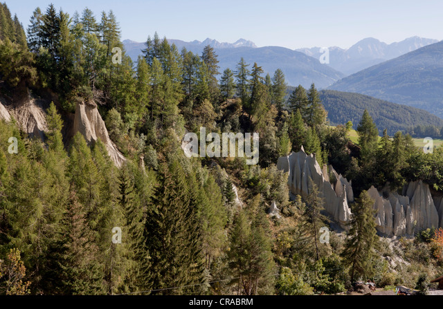 Earth pyramids, created as a result of a violent storm in 1834, Terenten, Val Pusteria, Pustertal Valley, South - Stock Image