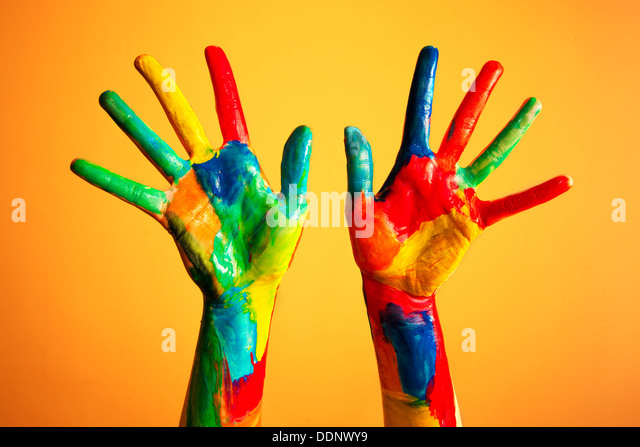 Colourful painted hands - creativity / artist / artistic / ideas / happiness / diversity concept - Stock-Bilder