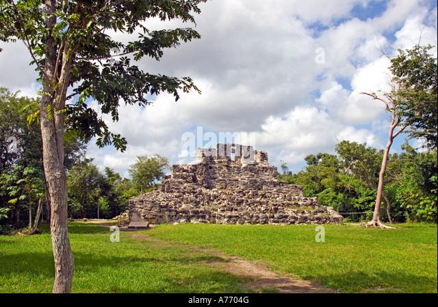 Mexico Cozumel San Gervasio Mayan ruins stone structure - Stock Image