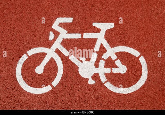 Cycle Lane, Close Up. - Stock Image
