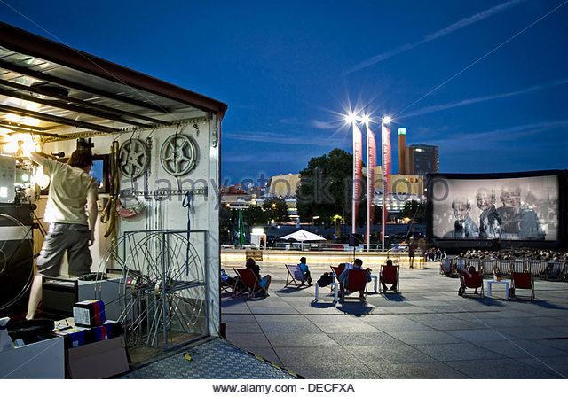 Berlin, Germany, Movies on the Piazzetta of the Cultural Forum - Stock Image