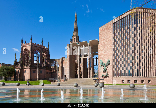 Coventry old cathedral shell and new modern cathedral, Coventry, West Midlands, England, United Kingdom, Europe - Stock Image
