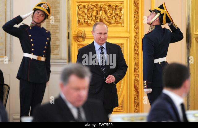 Russian President Vladimir Putin arrives for a meeting of the Victory Organizing Committee at the Kremlin April - Stock Image
