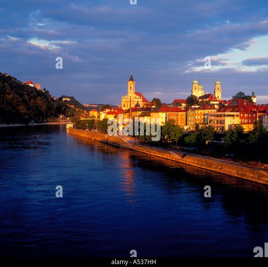 Passau Bavaria, Germany, setting sun evening.  Photo by Willy Matheisl - Stock Image
