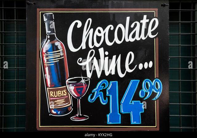 Chocolate Wine sign - Stock Image
