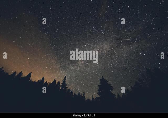 Milky Way and Shooting Stars over Breckenridge, Colorado - Stock Image