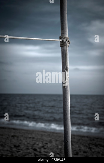 Turkey, Belek, Rope tied to pole at beach - Stock Image
