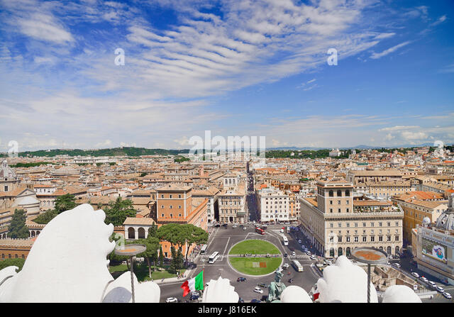 Italy, Rome, View from the terrace of the Vittorio Emanuele 2nd Monument. - Stock Image