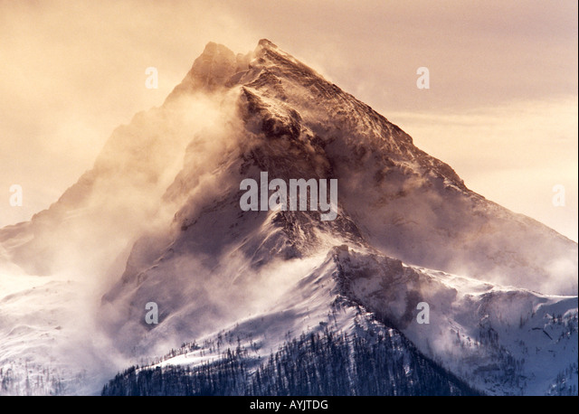 The mountain Watzmann (2713 m) in snow storm - Stock Image