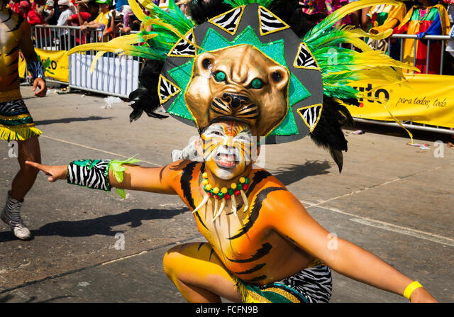 Barranquilla, Colombia - March 1, 2014: People at the carnival parades in the Carnival of Barranquilla, in Colombia. - Stock Image