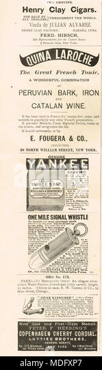 Early American advertising, Puck, 1888 - Stock Image