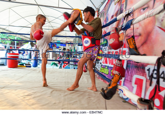 Muay Thai Boxing Gym near the Samsen 5 Lodge in Old Bangkok, Thailand - Stock Image