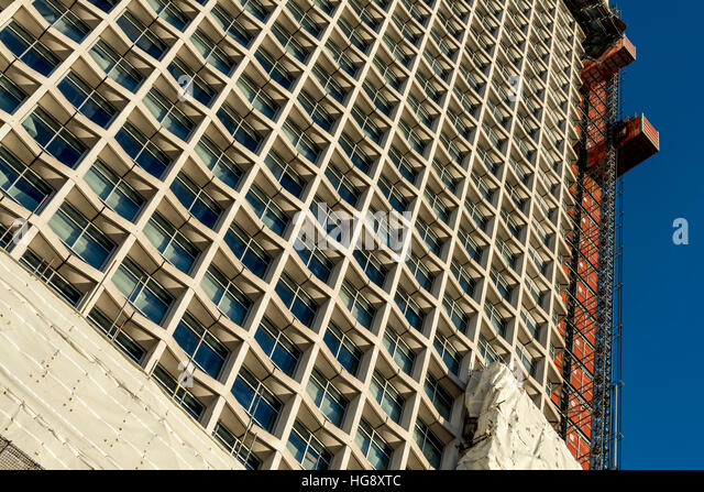 Looking up at London's iconic building Centre Point being refurbished. - Stock Image