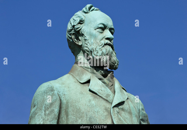 Statue of Alfred Krupp, industrialist and inventor, Essen, North Rhine-Westphalia, Germany, Europe - Stock Image