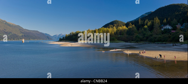 Sandy Beach on Douglas Island near Juneau, Southcentral Alaska, Summer - Stock Image