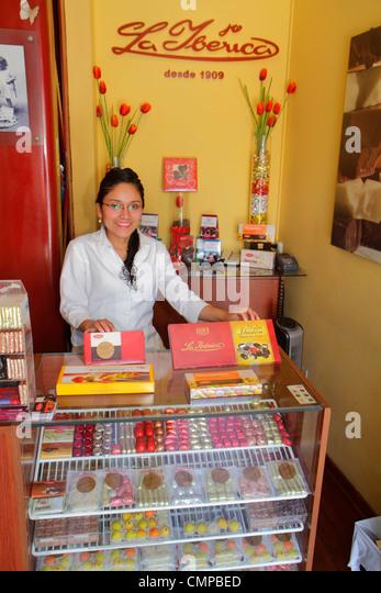 Lima Peru Miraflores Malecon de la Reserva Larcomar shopping center centre La Iberica chocolatier chocolates confections - Stock Image