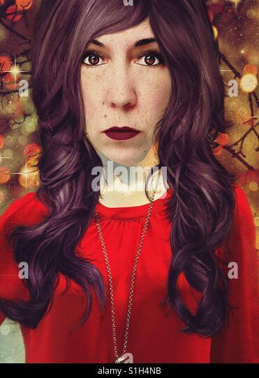 Woman in Red Shirt - Stock-Bilder