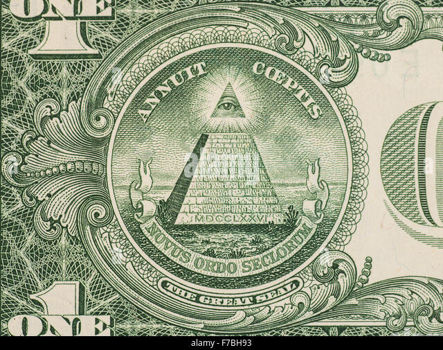 Great seal - US one dollar bill closeup macro, 1 usd banknote - Stock Image