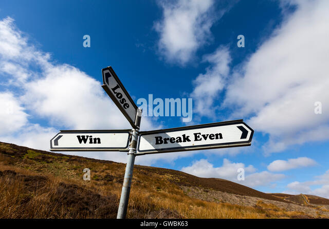 Win lose break even gambling sign words direction directions choice option options choose way in life antonyms antonym - Stock Image