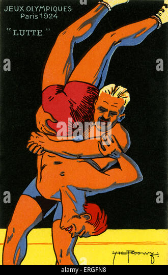 Olympics   1924 Paris France. Wrestlers. Jeux Olympiques - Stock Image