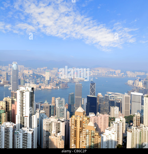 Skyline view from the Peak on Hong Kong Island - Stock Image