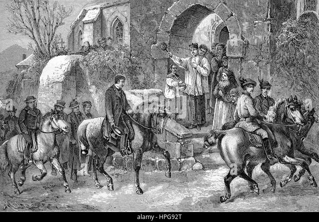 The Stephani riding. Saint Stephen is the first Christian martyr. On the day of his holiday, the second Christmas - Stock-Bilder