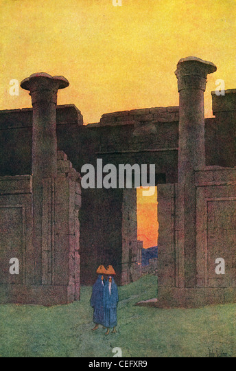 "Plate 7, ""The Temple of Medinet Abu,"" by Jules Guerin, 1920, J. H. Jansen, Cleveland, Publisher. - Stock Image"