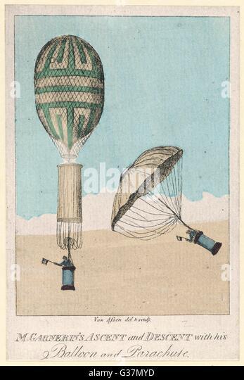 Garnerin's ascent & descent,  Paris         Date: 22 October 1797 - Stock Image