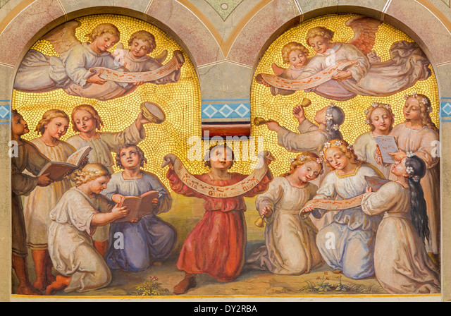 Vienna - Chorus of little angels in the heaven by Josef Kastner from 1906 - 1911 in Carmelites church - Stock Image