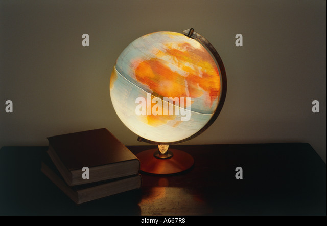 A spinning globe showing Europe and Africa - Stock Image