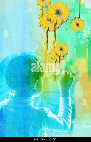 Child draws and points flowers - Stock Image
