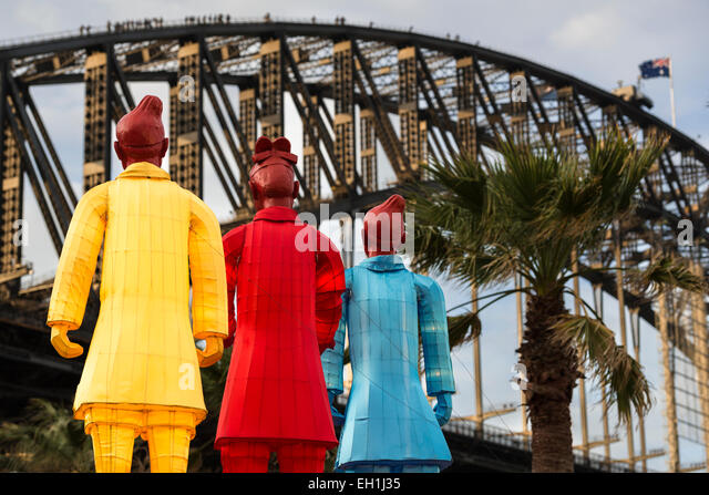 Illuminated Lanterns of the Terracotta Warriors face Sydney Harbour Bridge, part of celebrations to mark Chinese - Stock Image