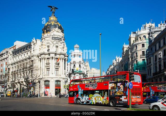 Madrid, Metropolis Building and Gran Via - Stock Image