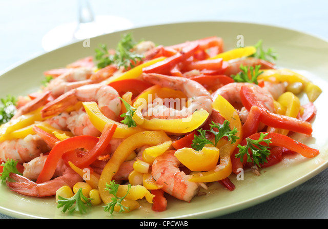 Shrimp with pepper and corn - Stock Image