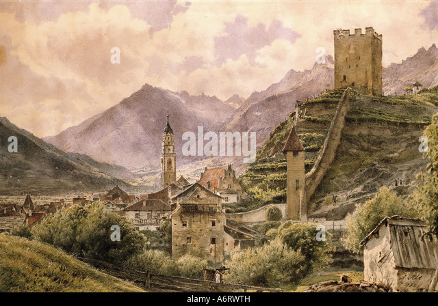 fine arts, Alt, Jakob (1789 - 1872), view on Klausen in the Eisack valley, watercolour, 1844, 24,4x36,6 cm, private - Stock Image