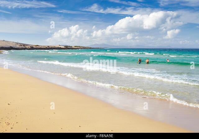 Fuerteventura Island, beach near Corralejo, Parque Natural de  Corralejo, Spain, Canary Islands, - Stock Image