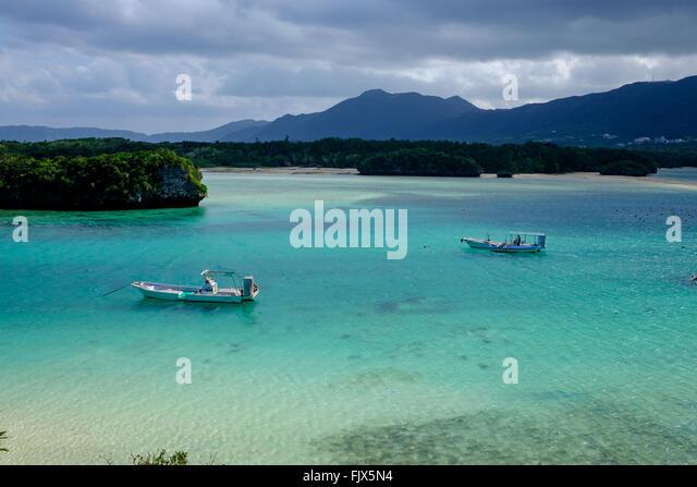 High Angle View Of Boats Moored On Sea At Ishigaki - Stock Image