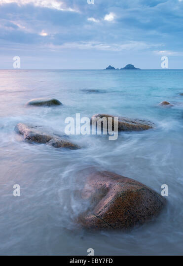 Cornish seascape, Porth Nanven, Cornwall, England. Autum (September) 2013. - Stock Image