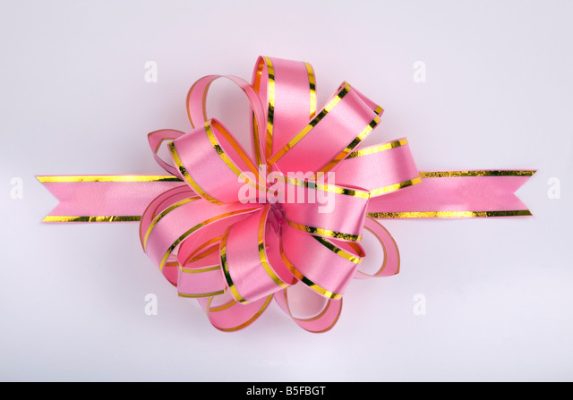 pink christmas gift ribbon and bow - Stock-Bilder