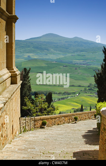 Pienza, Tuscany - View from Pienza across the countryside - Stock Image