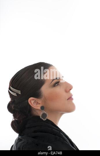 Spanish female Flamenco dancer Spain dance poise grace andalucia, andalusia - Stock Image